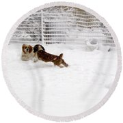 Snow Day Play Round Beach Towel