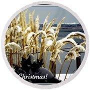 Snow Dust Christmas Card Round Beach Towel
