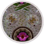 Snow Flowers And Orchids In Heavenly Wisdom Round Beach Towel