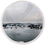 snow in port mahon - A very rare image of a mediterranean villa sided to sea covered of white Round Beach Towel