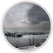 snow in port mahon - A very rare image of a mediterranean villa sided to sea covered of snow Round Beach Towel