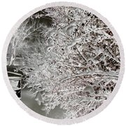 Snow Laden Branches II Round Beach Towel