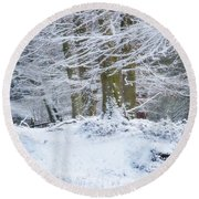 Snow Magic Round Beach Towel
