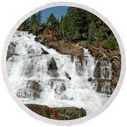 Snow Melt Glen Alpine Falls Round Beach Towel