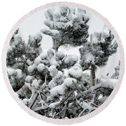 Snow On The Pines Round Beach Towel