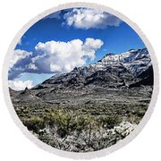 Snow On The Superstitions  Round Beach Towel