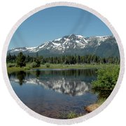 Snow Reflections Mt Tallac Round Beach Towel