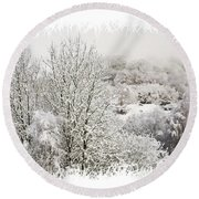 Snow Scene 1 Round Beach Towel