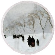 Snow Storm Round Beach Towel by Anton Mauve