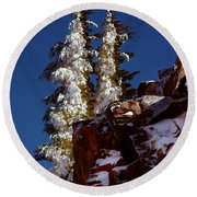 Snow Tipped Trees  Round Beach Towel