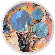 Snowball Plant Abstract 3 Round Beach Towel
