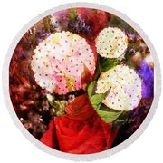 Snowball Plant Abstract 4 Round Beach Towel