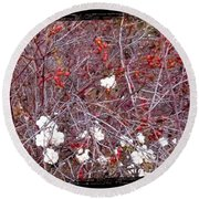 Snowberries And Rosehips Round Beach Towel