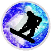Snowboarder In Whiteout Round Beach Towel
