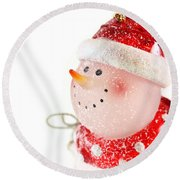 Snowman Figure Round Beach Towel