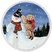 Snowman In Top Hat Round Beach Towel by Gordon Lavender