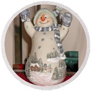 Snowman With Bell Round Beach Towel