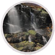 Snowmelt Waterfalls In Tuckermans Ravine Round Beach Towel