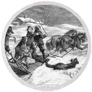 Snowstorm In The Country Round Beach Towel