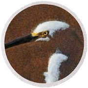 Snowy Egret Profile Painterly Round Beach Towel