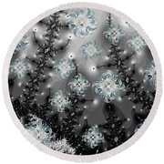 Snowy Night I Fractal Round Beach Towel by Betsy Knapp