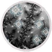 Snowy Night II Fractal Round Beach Towel