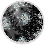 Snowy Night IIi Fractal Round Beach Towel