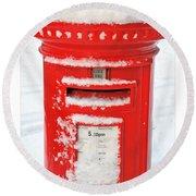 Snowy Pillar Box Round Beach Towel