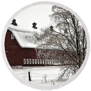 Snowy Red Barn Round Beach Towel