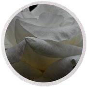 Snowy Rose Round Beach Towel