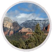 Snowy Sedona Afternoon Round Beach Towel