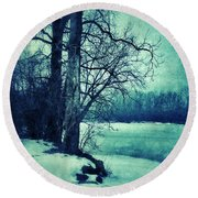 Snowy Woods By A Lake Round Beach Towel