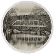 Snyder Road Bridge At Green Lane Park In Sepia Round Beach Towel