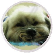 So Tired Round Beach Towel