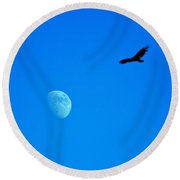 Soaring Over The Moon Round Beach Towel