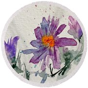 Soft Asters Round Beach Towel