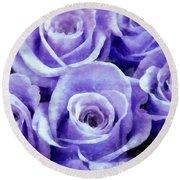 Soft Lavender Roses Round Beach Towel