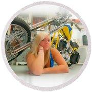 Soft N Sweet Harley Chopper  Round Beach Towel