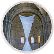 Soft Sculpture In A Monastery Round Beach Towel