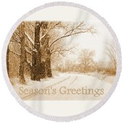 Soft Sepia Season's Greetings Card Round Beach Towel by Carol Groenen