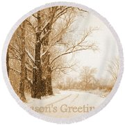 Soft Sepia Season's Greetings Round Beach Towel