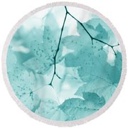 Softness Of Teal Maple Leaves Round Beach Towel