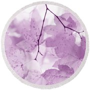 Softness Of Violet Maple Leaves Round Beach Towel