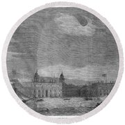 Solar Eclipse, 1858 Round Beach Towel