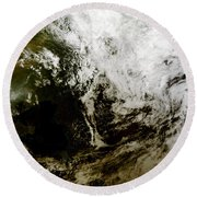 Solar Eclipse Over Southeast Asia Round Beach Towel