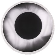 Solar Eclipse With Outer Corona Round Beach Towel