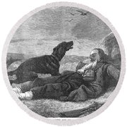 Soldier & Dog Round Beach Towel