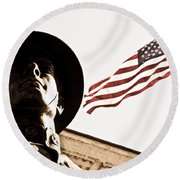 Soldier And Flag Round Beach Towel