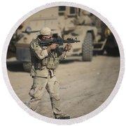 Soldier Fires A M4 Carbine Round Beach Towel