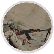 Soldier Fires A Russian Rpk Kalashnikov Round Beach Towel
